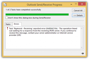 outlook email error message