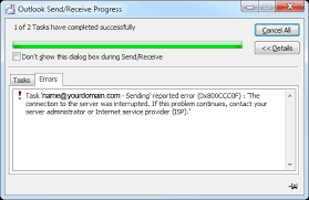 send receive outlook error 0x800ccc0f