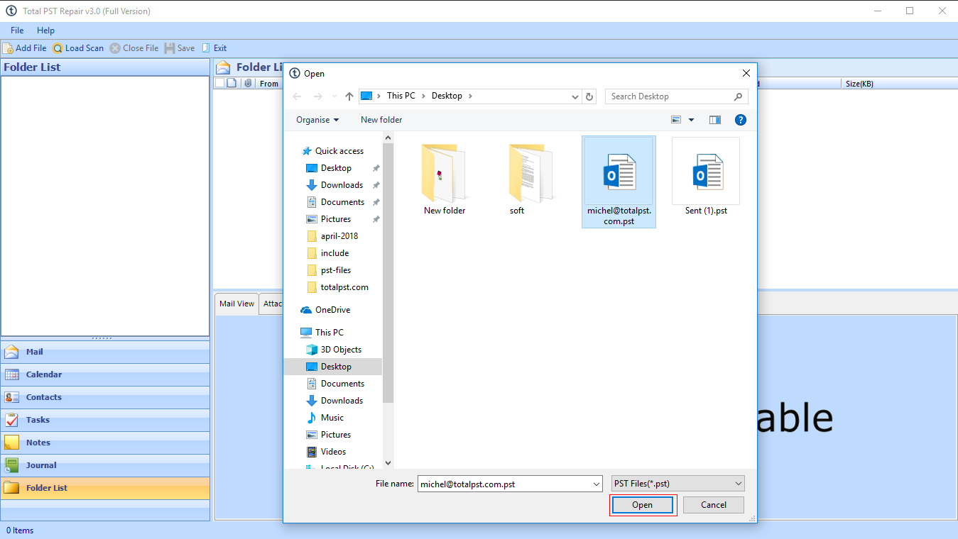 chose Outlook PST file